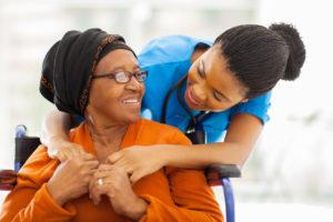 happy senior patient with friendly female nurse